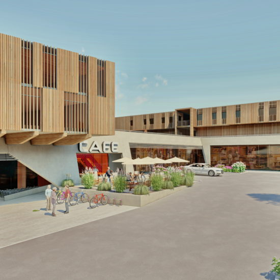 Gemeindezentrum Kainbach mit Parkplatz und Eingang