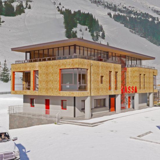 Büro Koralpe Kassengebäude in verschneiter Landschaft und Berge