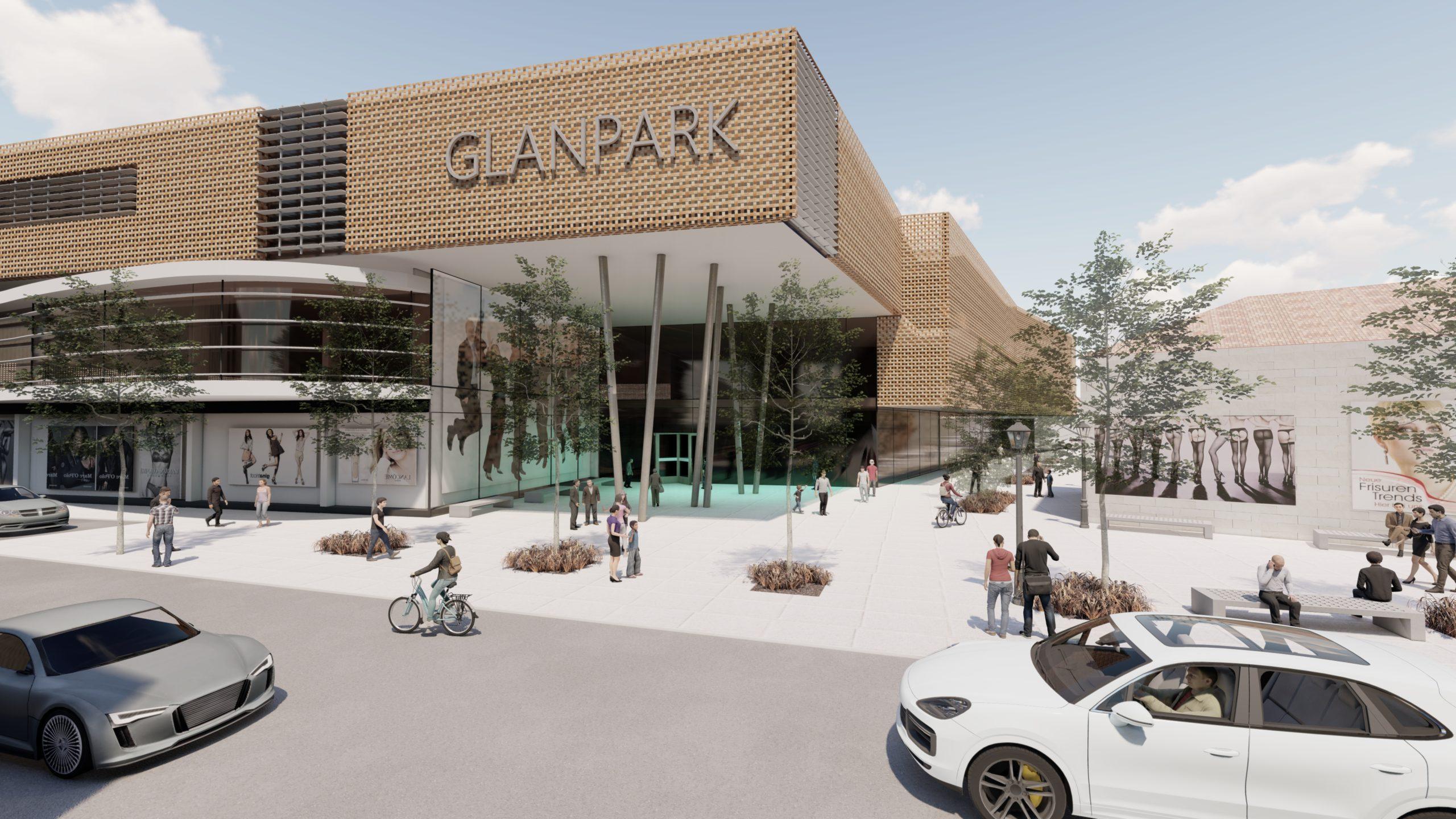 Einkaufszentrum Glanpark Blick von der Staße aus