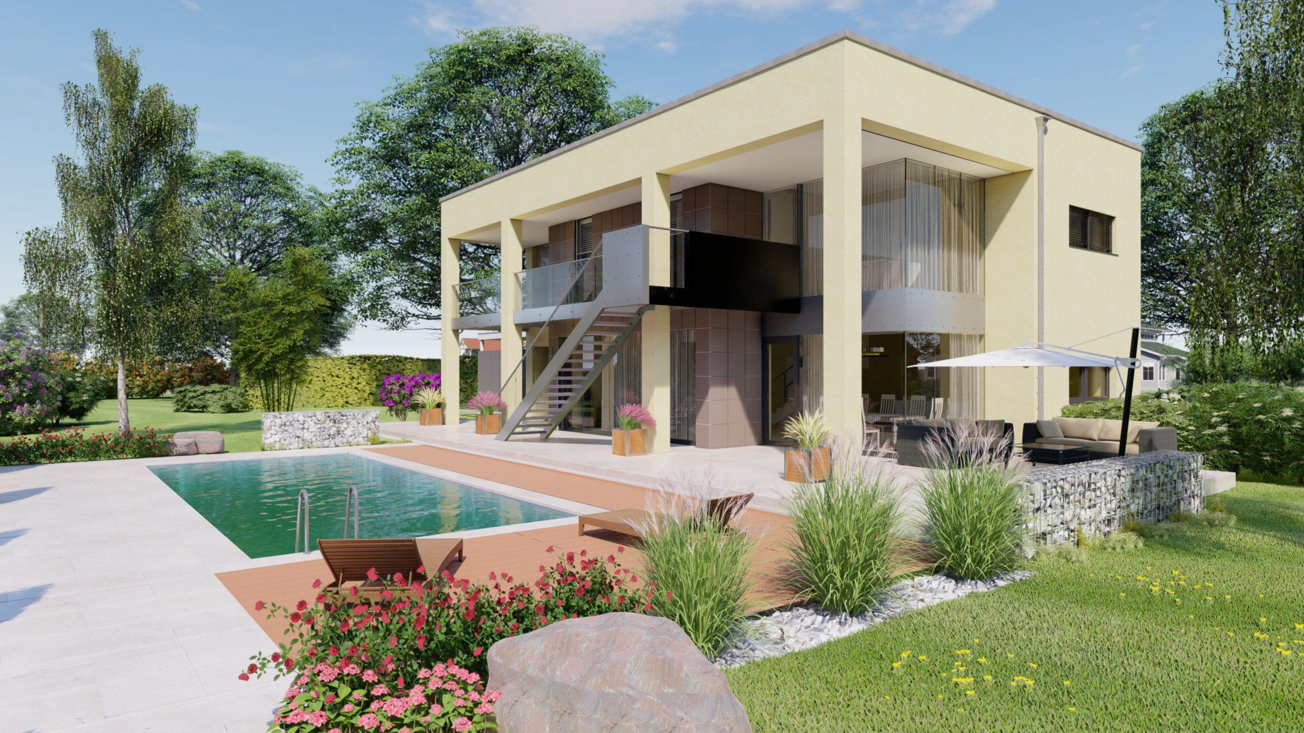 Haus Wien Detailansicht mit Pool