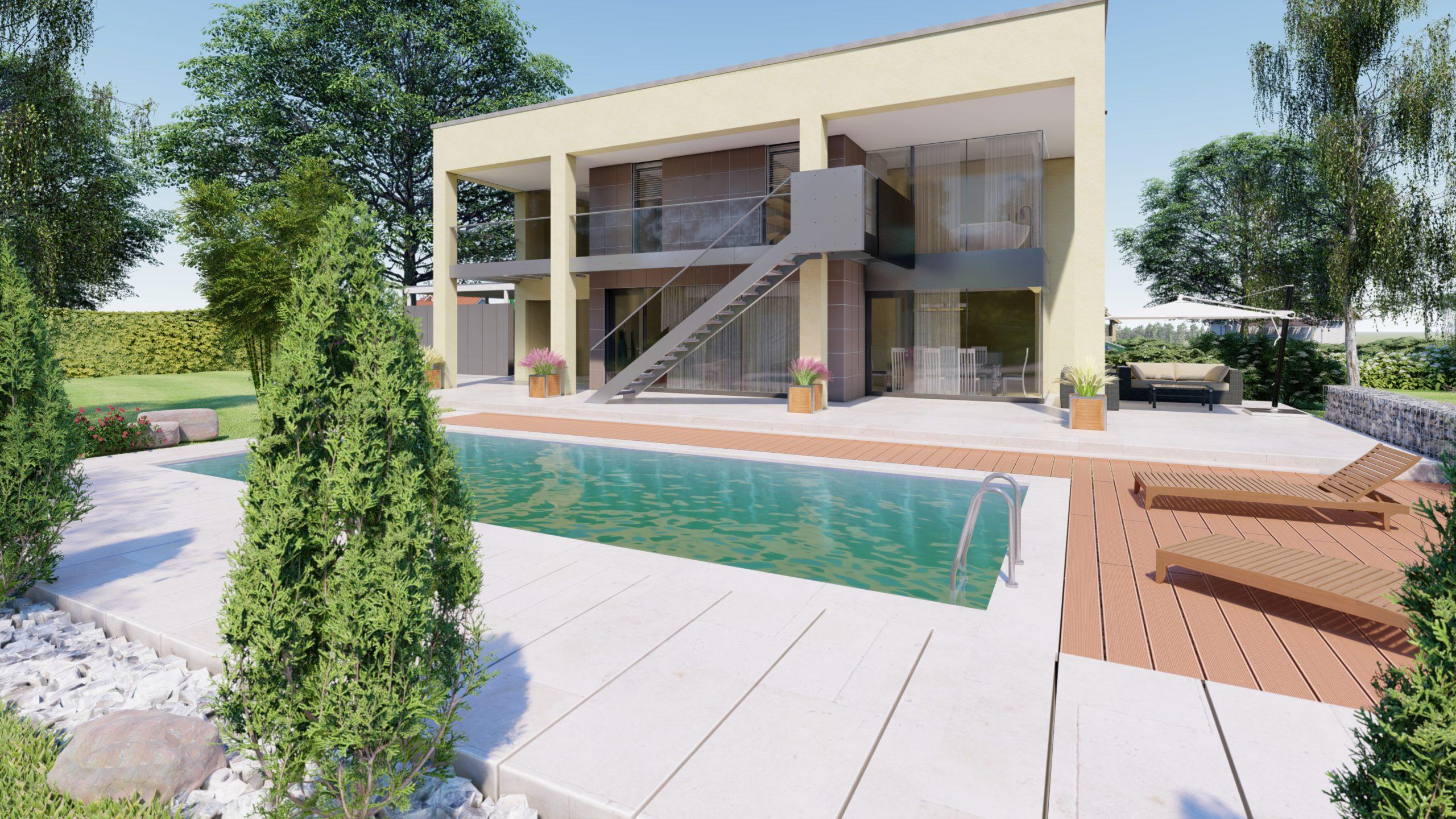 Haus Wien Detailansicht mit Pool im Vordergrund