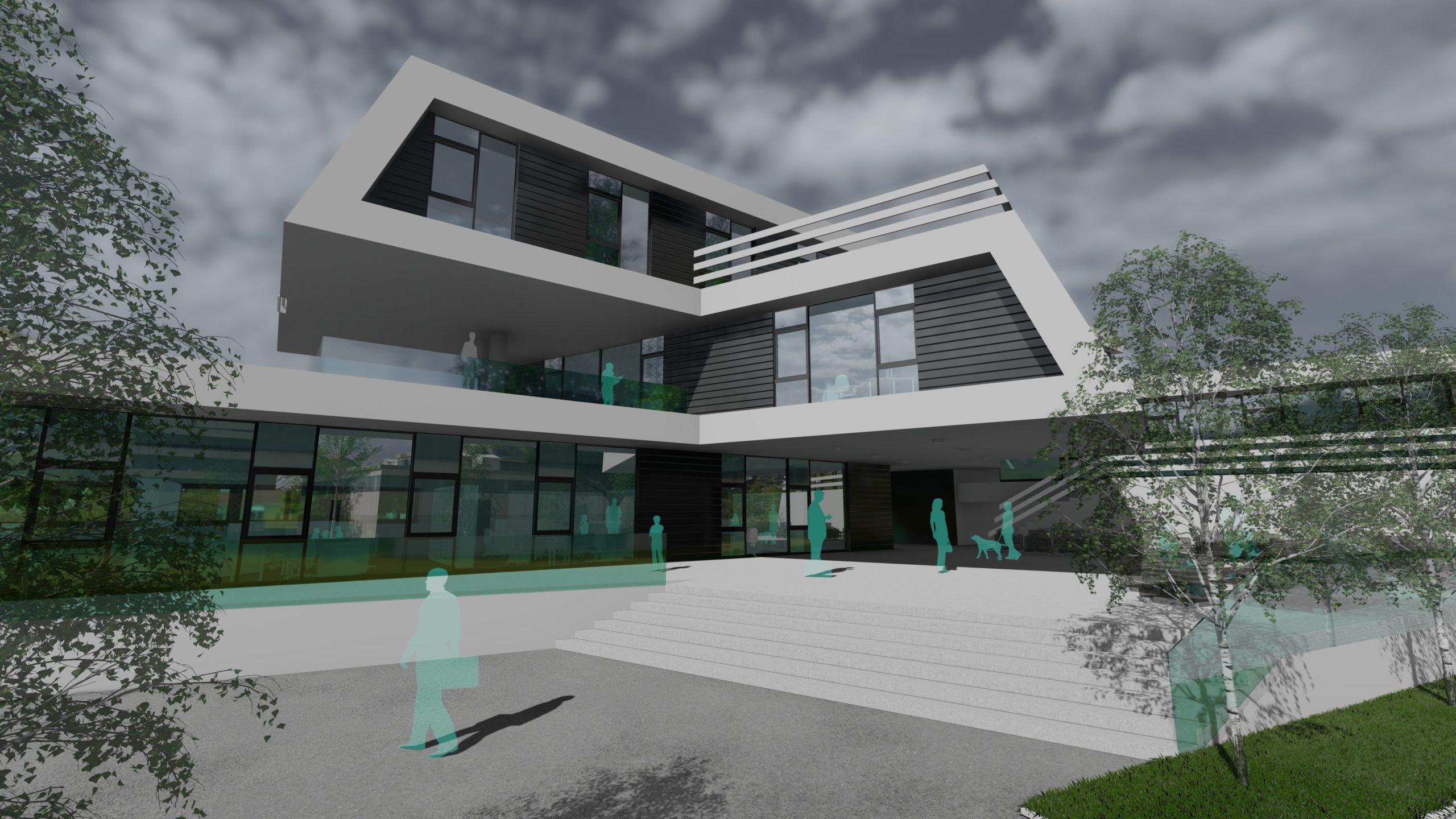 Büro Wolfsberg Detailansicht mit Haupteingang