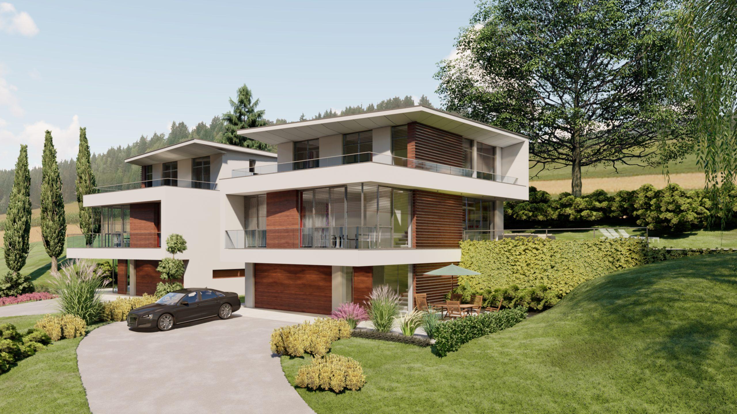 Doppelhaus Petersdorf Vorderansicht und Zufahrt mit Garageneinfahrt