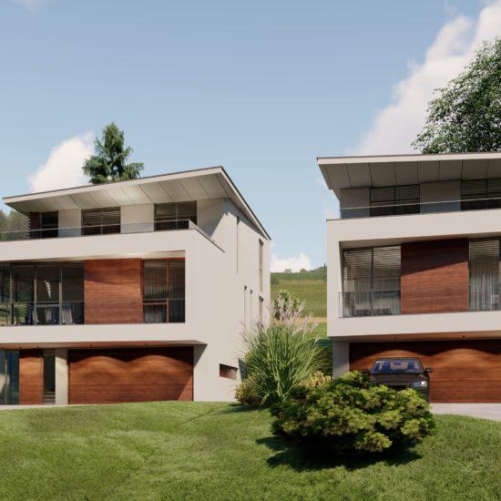 Doppelhaus Petersdorf mit Blick auf Zufahrt und Garageneinfahrt