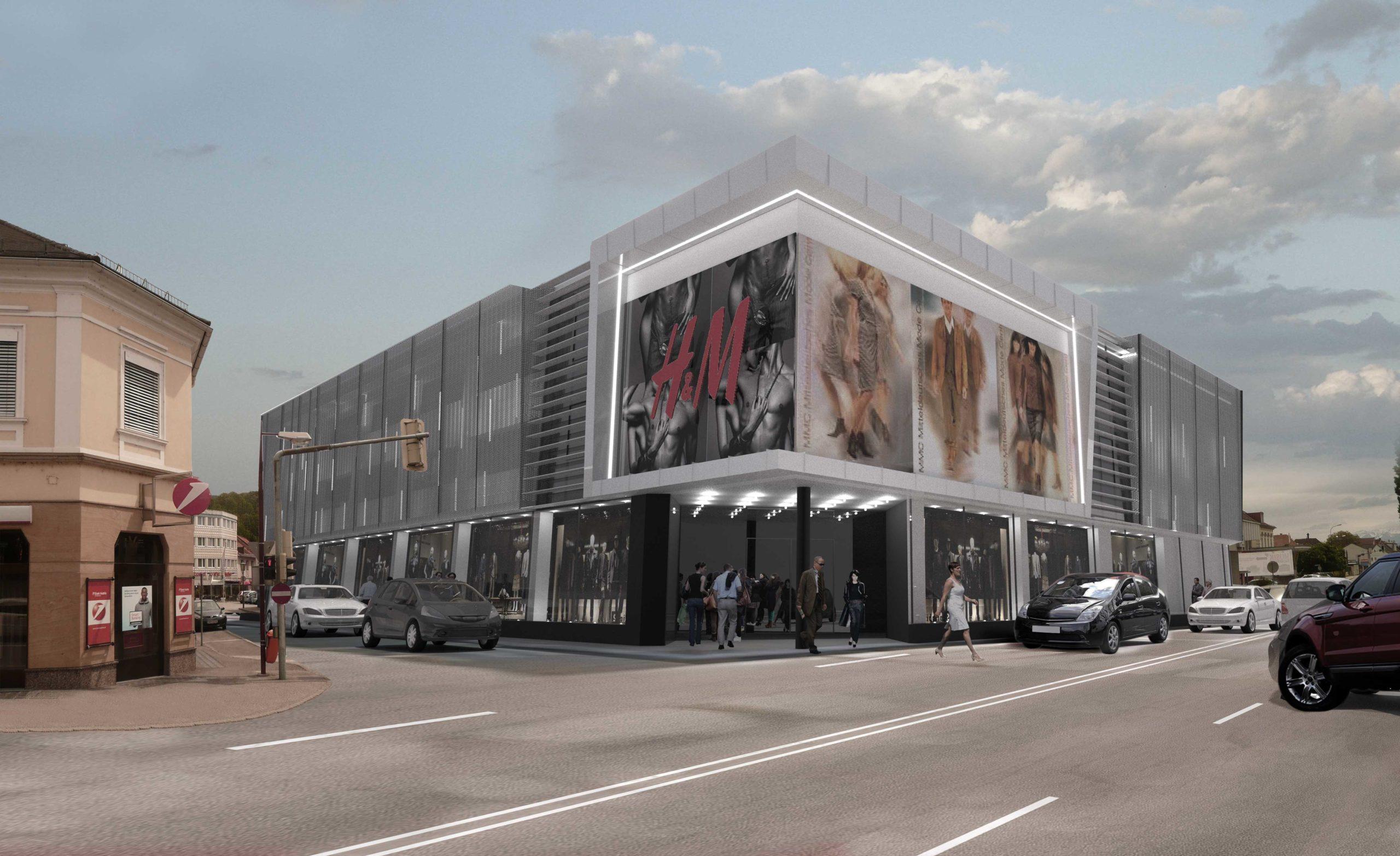 Geschäftshaus Wolfsberg mit Blick von der Strasse aus