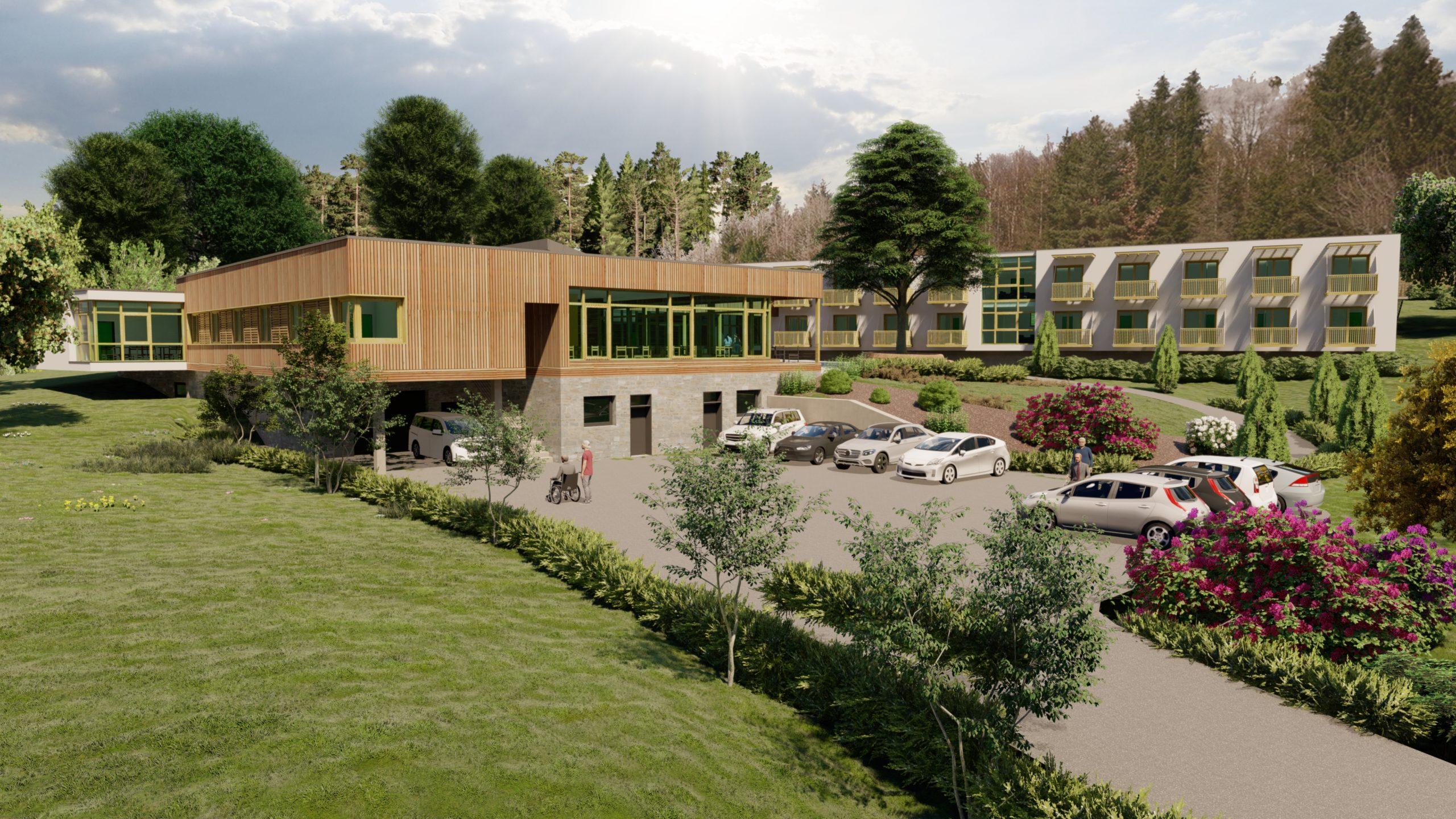 Pflegeheim Außenansicht in grüner Landschaft