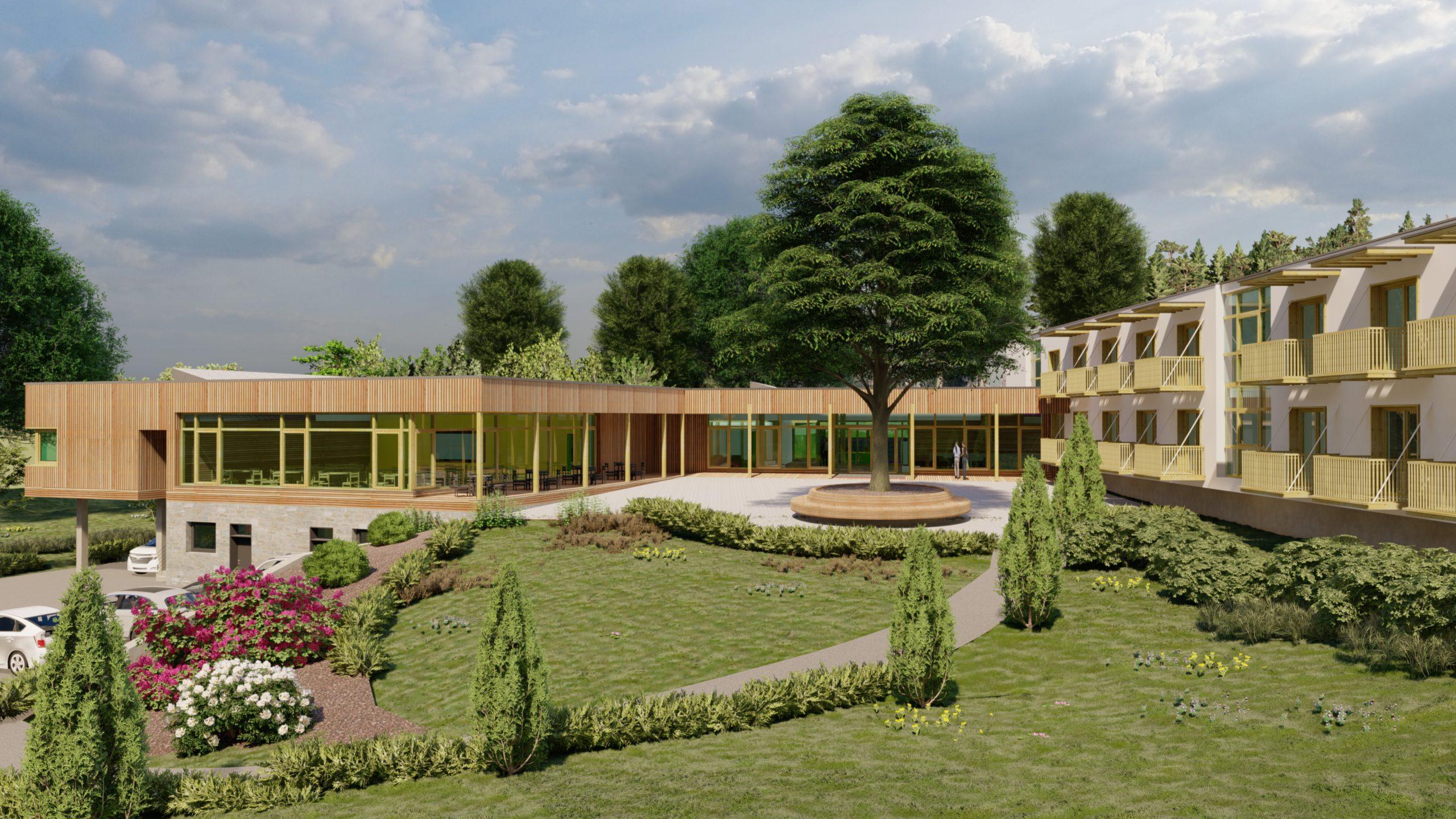 Pflegeheim mit Blick in den Garten