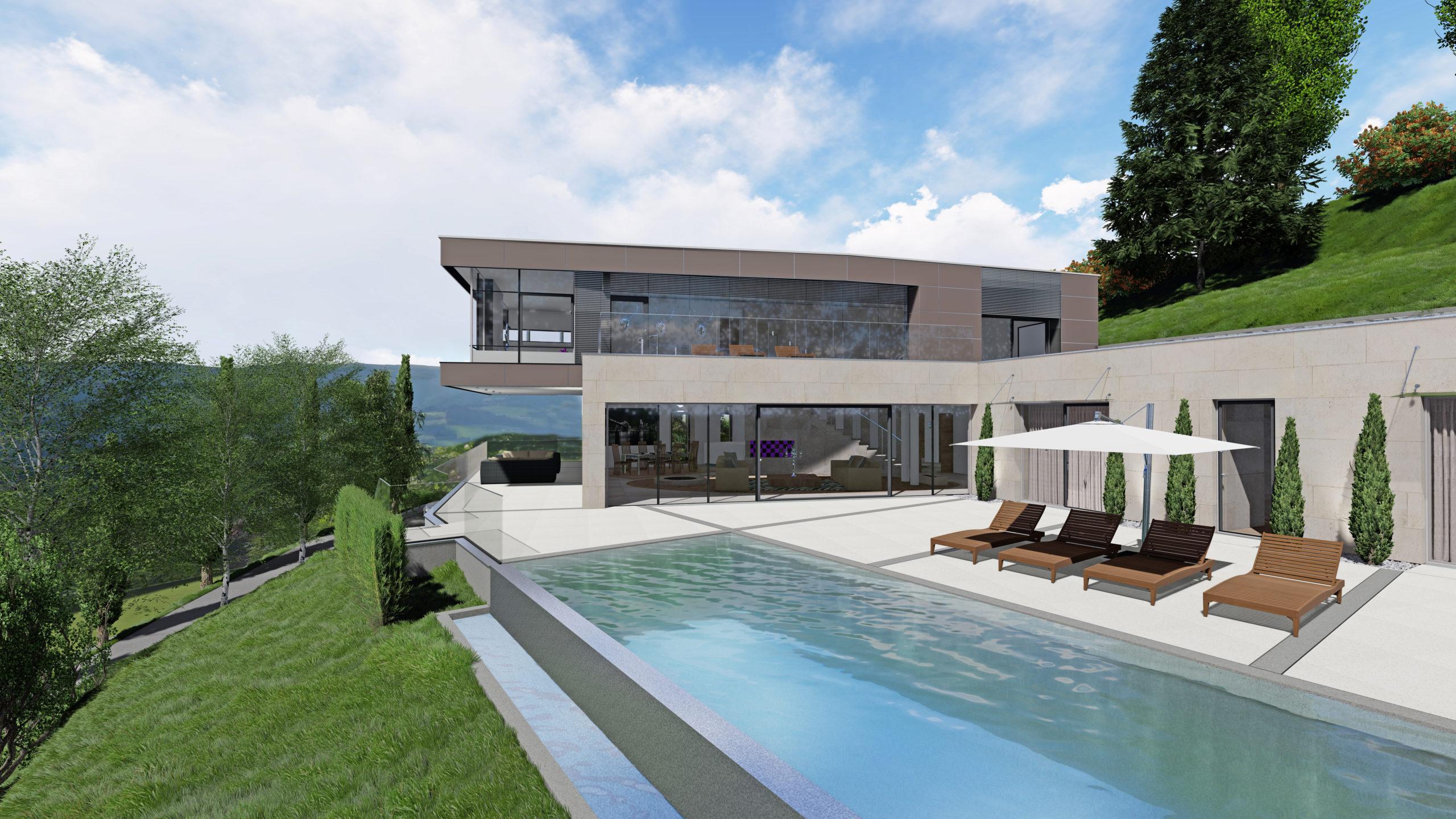 Privathaus in Wolfsberg Detailansicht Haus mit Pool und Terasse, Blick ins Tal