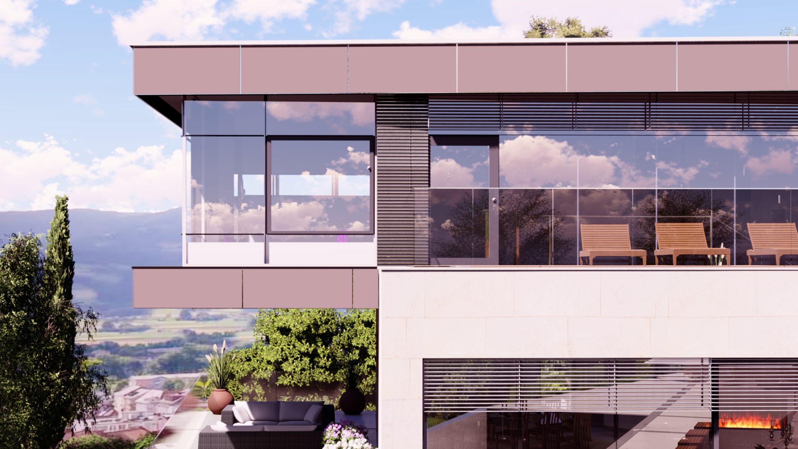 Privathaus in Wolfsberg Detailansicht Haus mit Terasse, Blick ins Tal