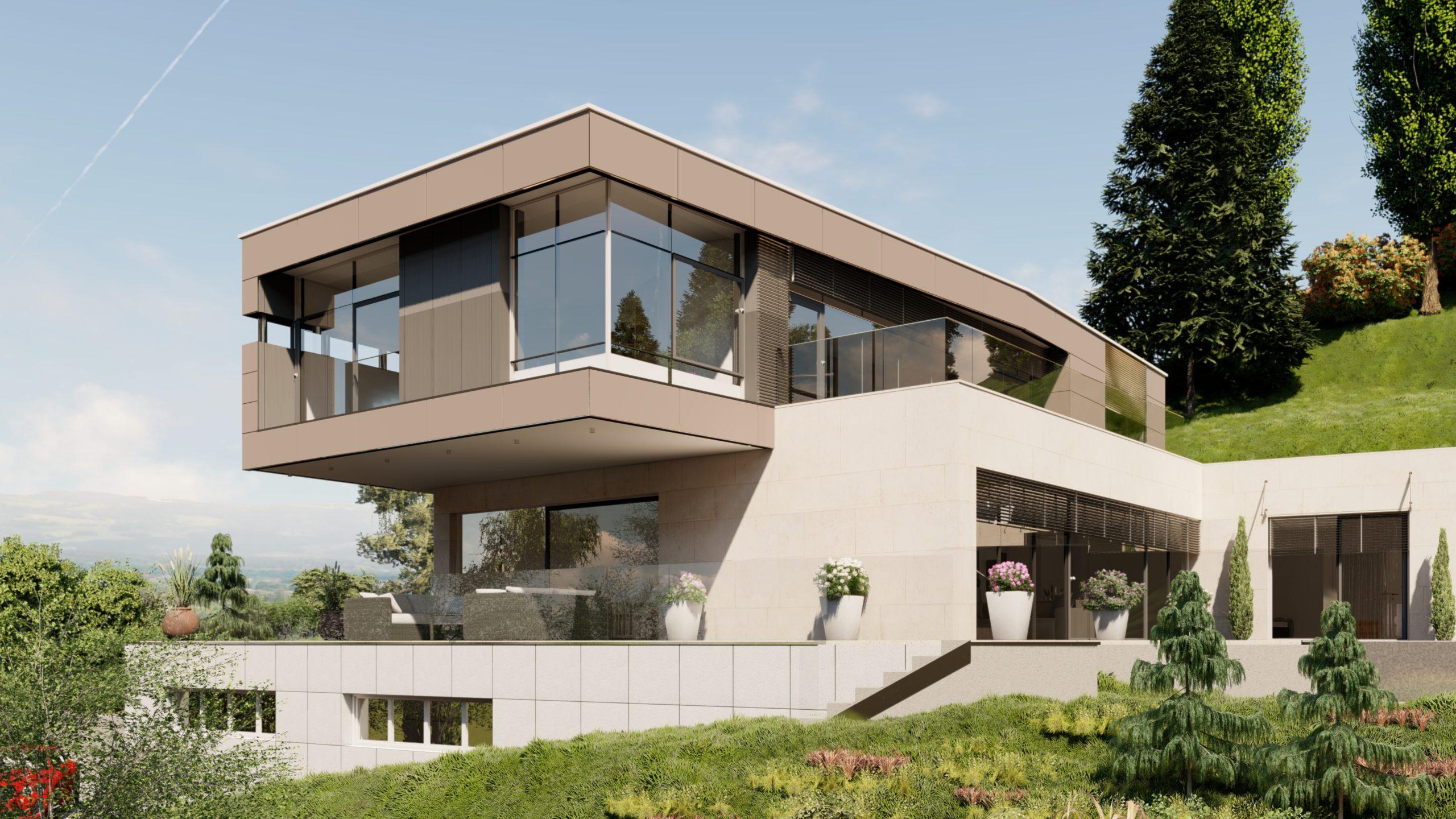 Privathaus in Wolfsberg Außenansicht Haus mit Terasse, Detail