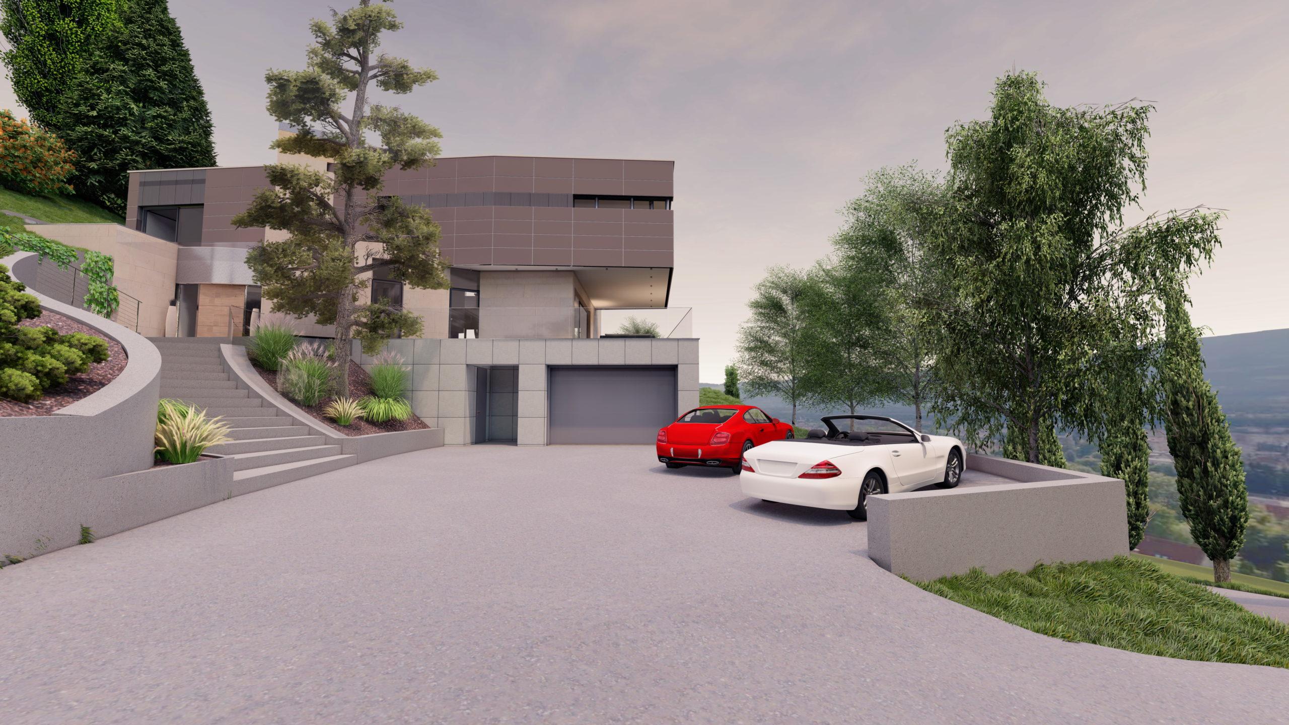 Privathaus in Wolfsberg Zufahrt mit Garageneinfahrt und Außenaufgang zum Wohnhaus, Blick ins Tal