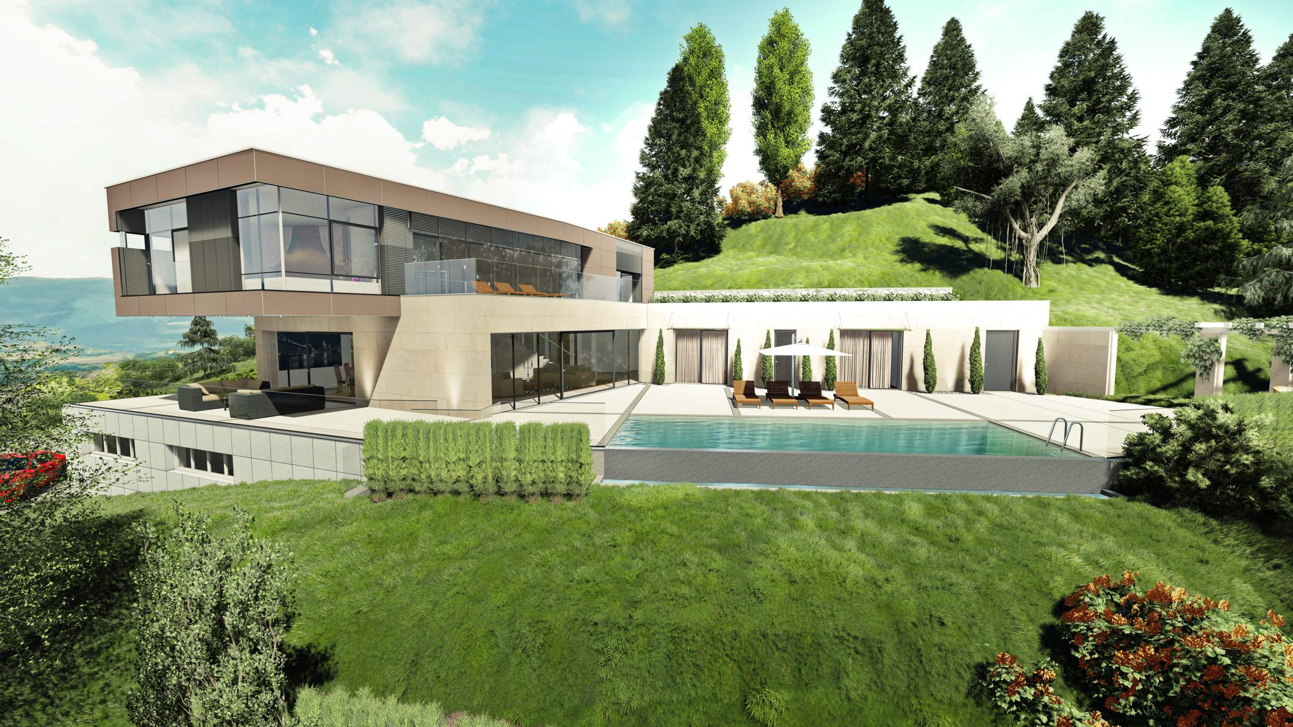 Privathaus Wolfsberg Außenansicht mit hügeliger Landschaft