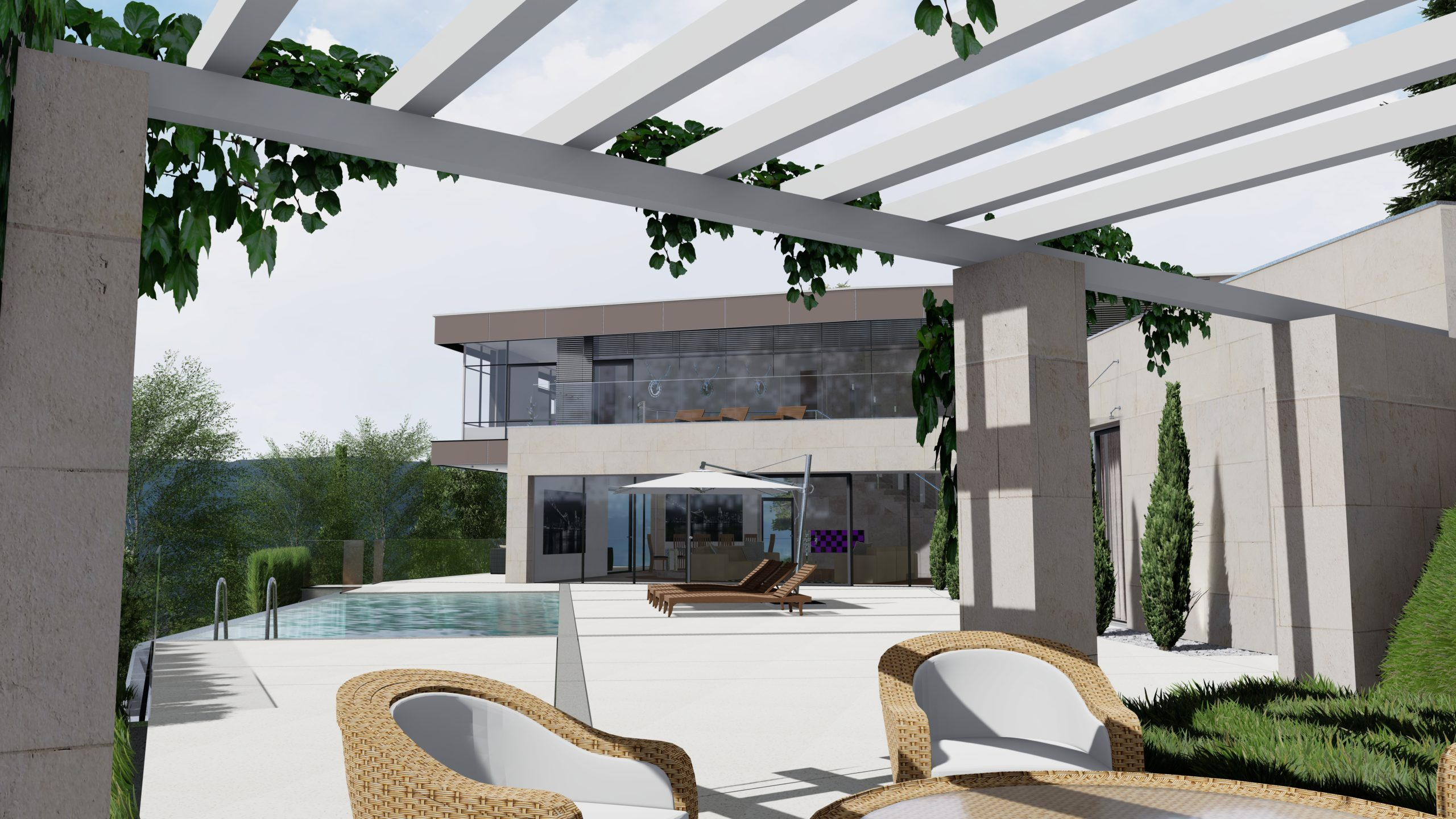 Privathaus in Wolfsberg von seitlicher Laube aus mit Blick auf Swimmingpool und Terasse
