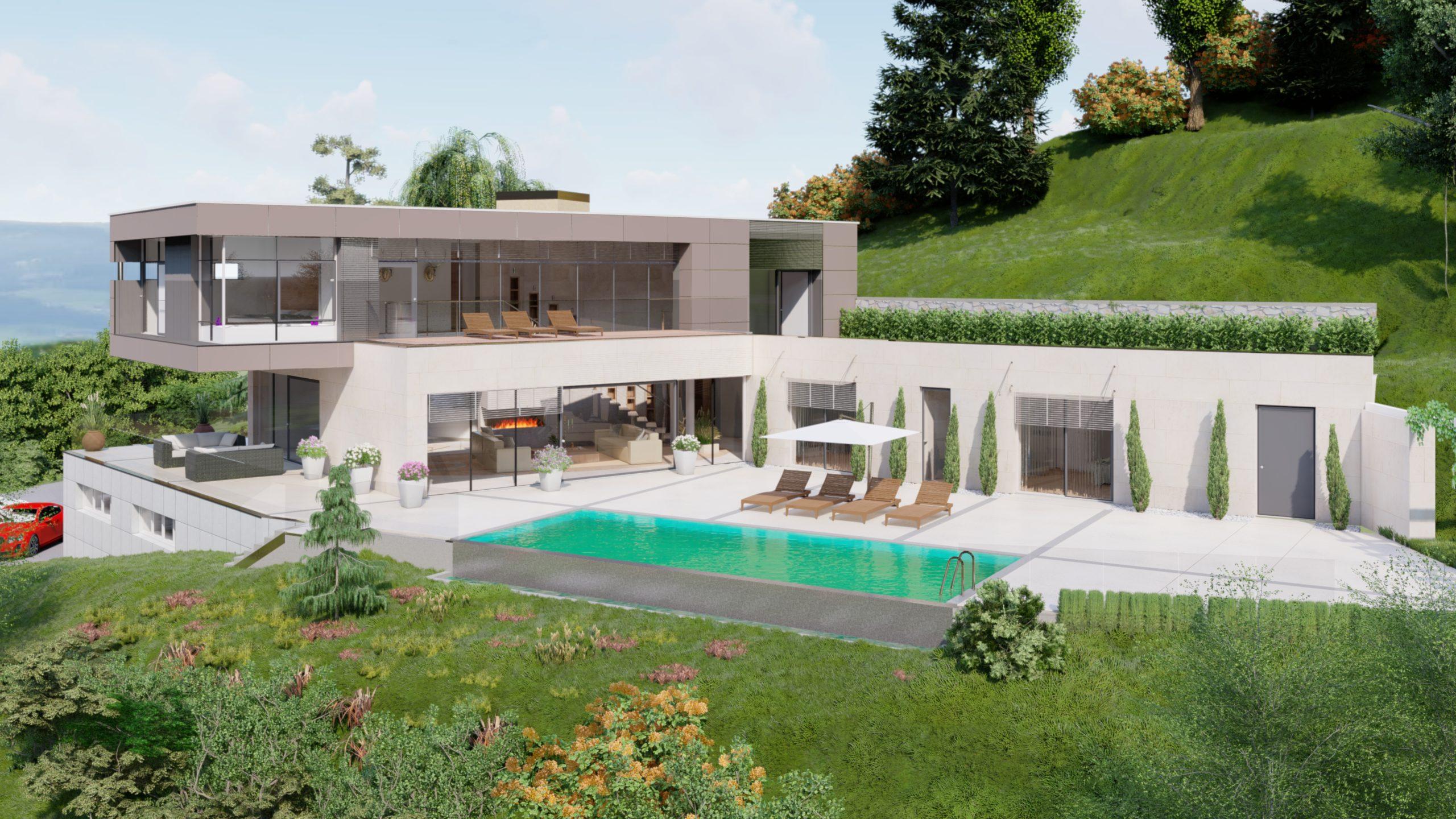 Privathaus in Wolfsberg mit Blick auf Swimmingpool und Garten in hügeliger Landschaft