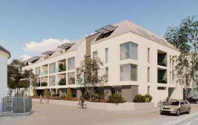 Wohnanlage Klosterneuburg mit Blick von der Straße aus