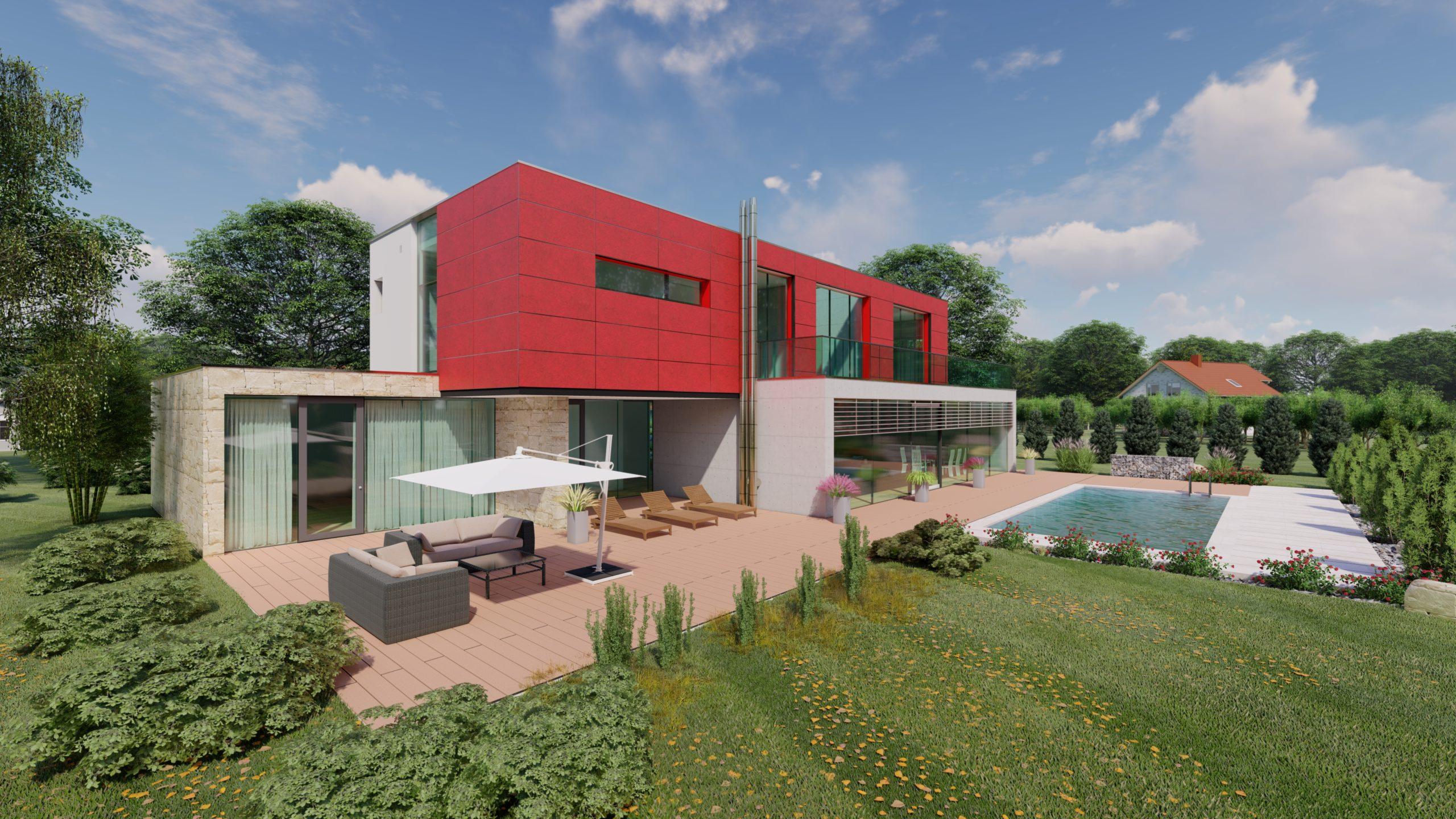 Einfamilienhaus mit roter Fassade im Obergeschoss und Blick in Garten mit Pool