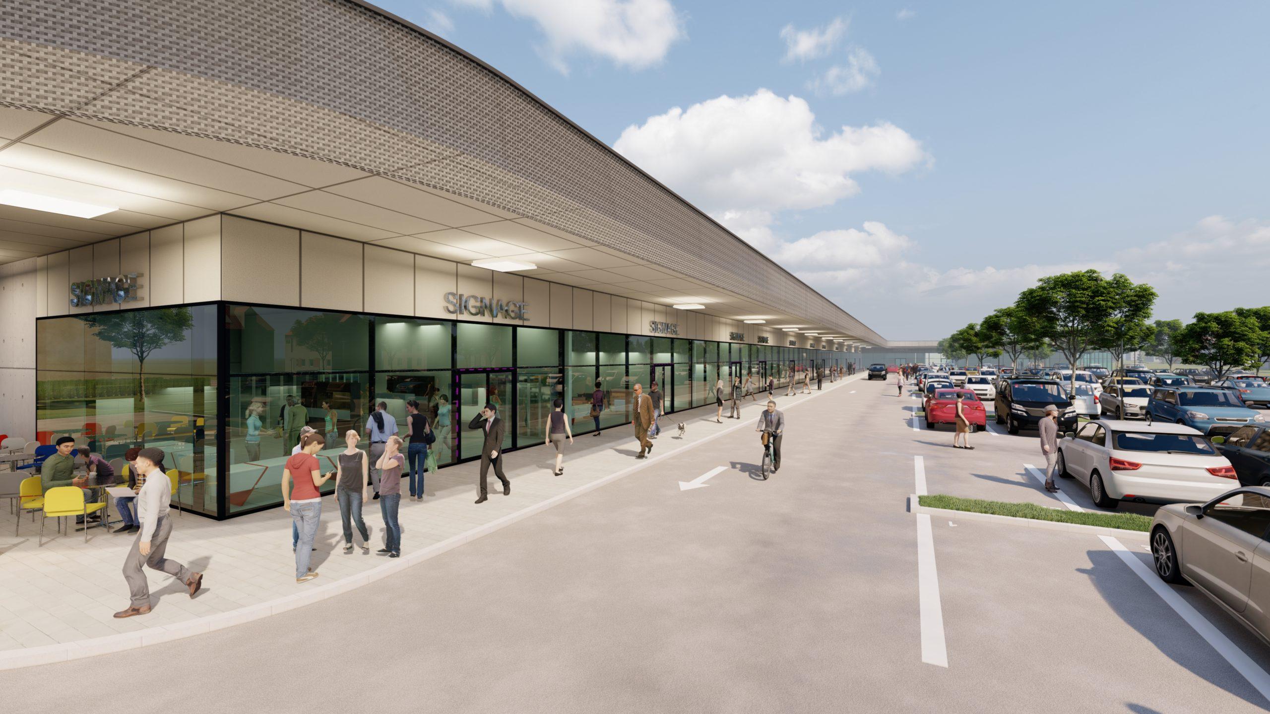 Fachmarktzentrum Kroatien mit Parkplatz und Eingangsbereich